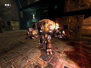 Later in the game you get to steal a mech like this and shoot through the prison.